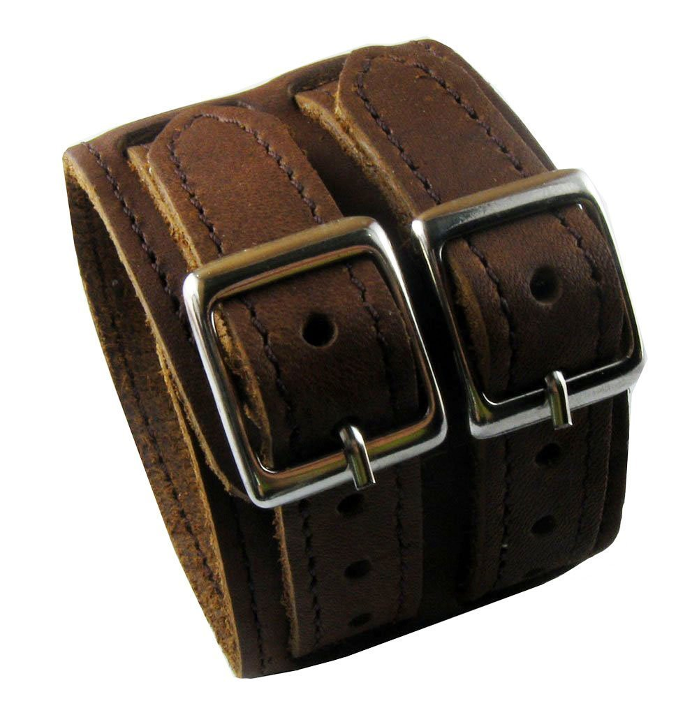 D'SHARK 2'' Wide Classic Brown Biker Leather Buckle Bangle Bracelet Cuff Wristband for Unisex - Adjustable