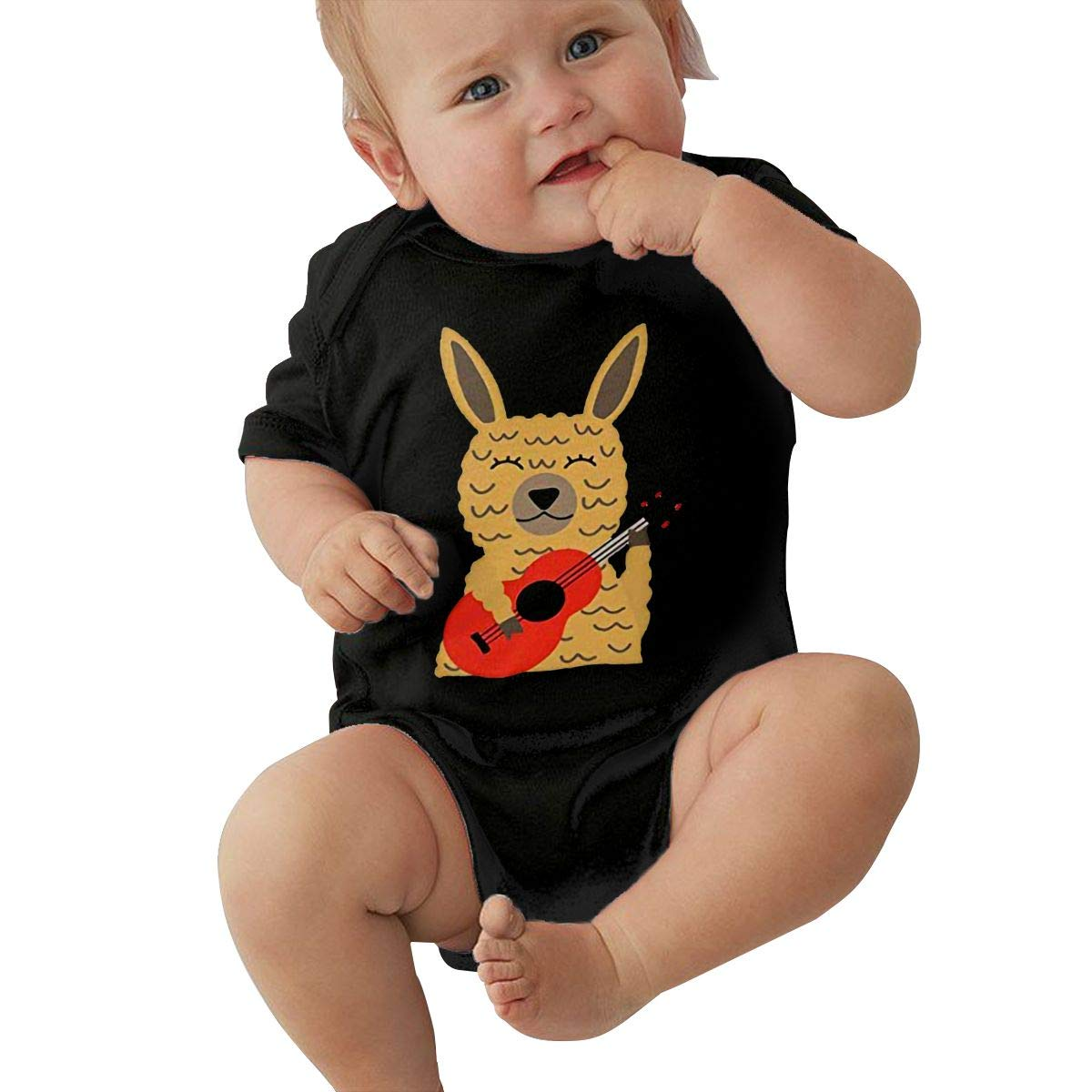 Llama Playing Guitar Toddler Baby Girl Boy Romper Jumpsuit Outfit Short Sleeve Bodysuit Tops Clothes