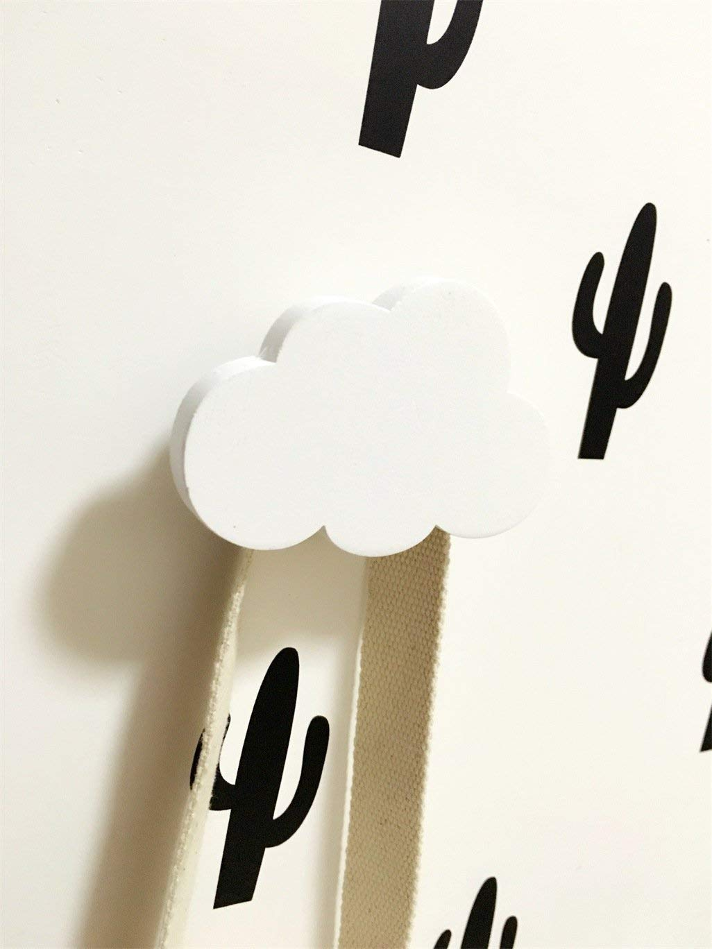 Yingealy Decorate Your Home Clouds Hook Wooden Children's wear Shop Decoration Room Wall Adhesive Hook Nordic Style, Black Clouds Hook (Color : The White Clouds Hook)