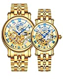 Binger Couple Watches Mechanical Skeleton Stainless Steel Watch for her or his (Gold)