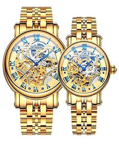 Binger Couple Watches Mechanical Skeleton Stainless Steel Watch for her or his (Gold) by Binger