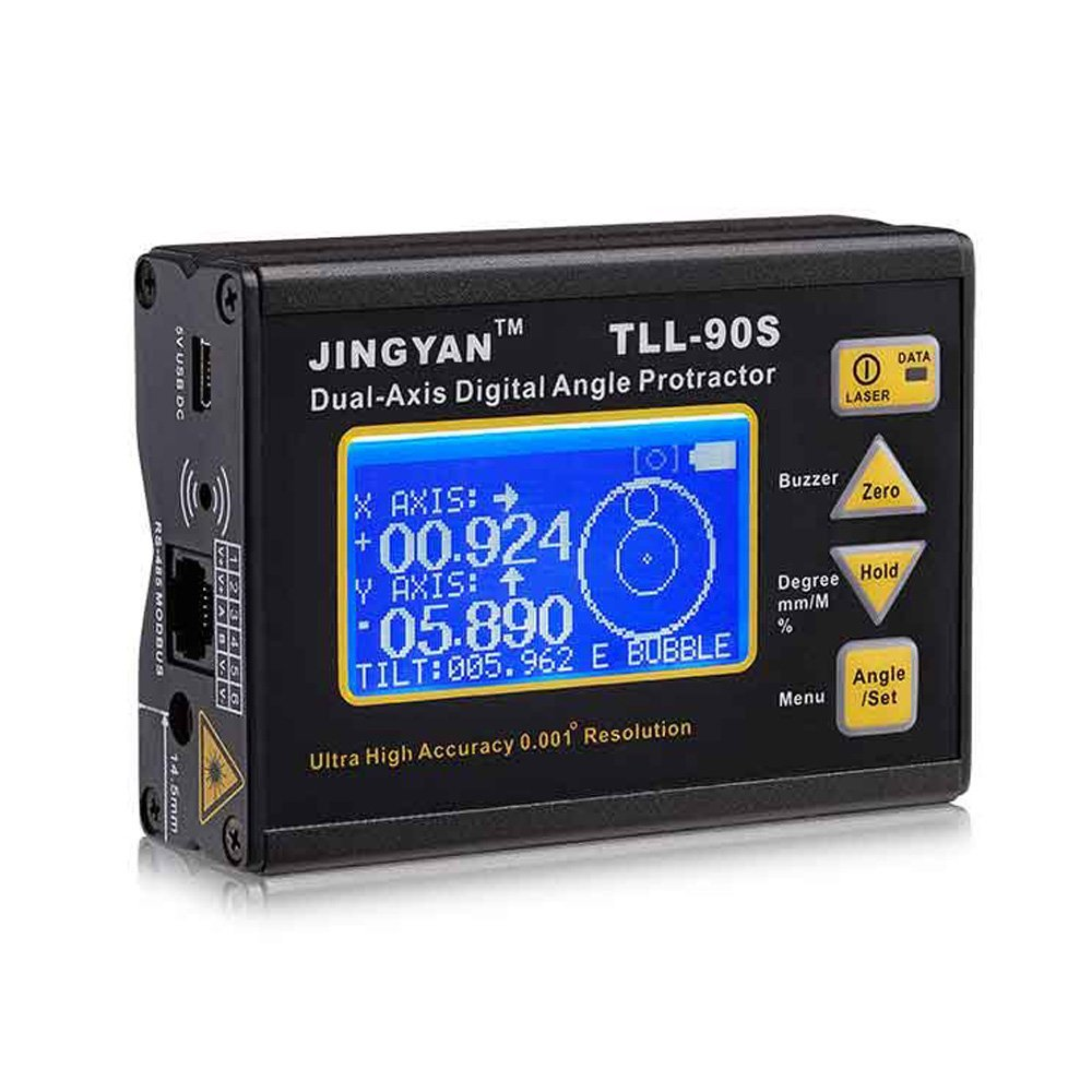 Docooler TLL-90S Super High Precision Angle Meter 0.005 Professional Dual-axis Digital Laser Level Inclinometer Angle Protractor with LCD Display 100-240V 50-60Hz