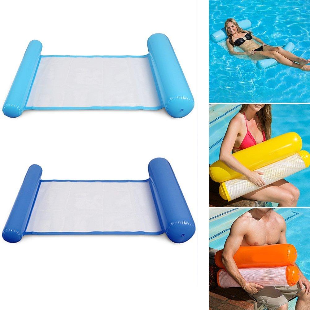Foldable Dual Backrest Outdoor Water Hammock Inflatable Beach Ocean//Lake Lounger Backrest Recliner Floating Sleeping Bed Chair Blue Wanbor Floating Hammock