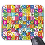 Gaming Mouse Pad Non-Slip Water Resistant Rubber Base Cloth Computer Mouse Mat-dr seusss ABC Colorful Block Letter Pattern Mousepad