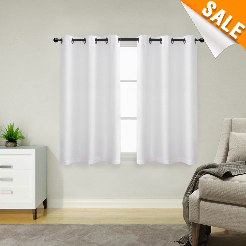 White Tier Curtains for Kitchen Casual Weave Cafe Curtains Privacy Semi  Sheer Window Curtains for Living Room, 1 Pair, 45 Inches Long