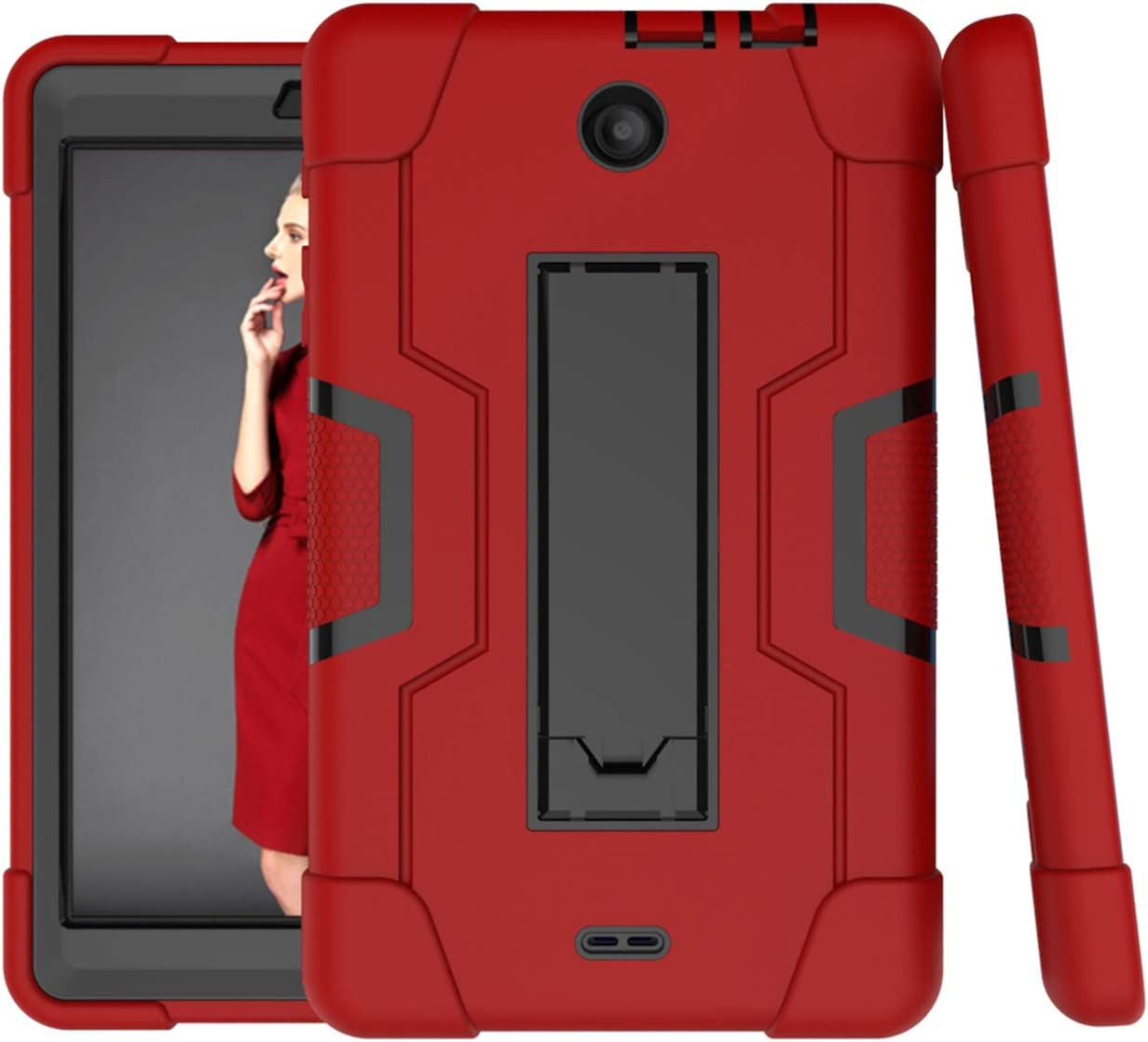 For Alcatel 3T 8.0 2018 Case,Alcatel Joy Tab 8.0 2019 Case,Cherrry Heavy Duty Rugged Hybrid Shockproof Full-Body Protective Case Build in Kickstand With Screen Protector Film/Stylus Pen (Red/Black)