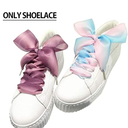 ac2c716edd487f Image Unavailable. Image not available for. Color  TINTON LIFE Fancy Flat  Silk Satin Ribbon Sport Shoes Laces Sneakers Shoestrings(1 ...