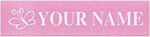Wunderlabel Standard Woven Label Women Girls Name Tag Emma Iron on Art Craft Crafting Ribbon Decorative Tags on Clothes Clothing Garment Fabric Material Embroidered Labels Tags, White on Pink, 25 Qty