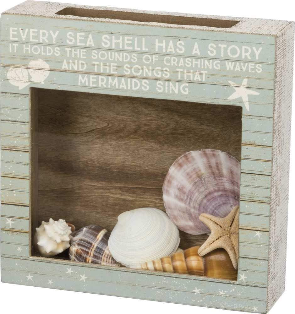 """Primitives by Kathy 38437 Slat Wood Holder, 10"""" Length x 10"""" Height x 2.50"""" Width, Every Shell Has A Story"""