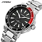 SINOBI Men Watch with Stainless Steel Case and Silver Bracelet Band, Waterproof Calendar Date Watch Black