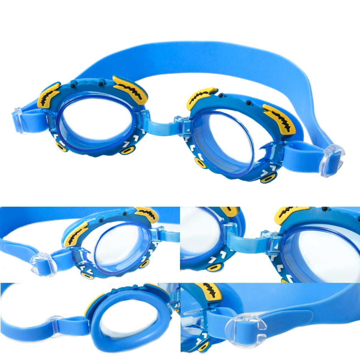 Swim Goggles For Kids | Mirrored Swimming Goggles No Leaking Anti Fog UV Protection - Free Protection Easy Adjustment With Cartoon Waterproof Swim Cap With Nose Clip, Ear Plugs and Carry Bag by Doc&Good Inc. (Image #1)