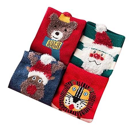 Navidad Calcetines de Algodón 4 Pares - Unisex Calcetines Antideslizantes para Bebés Niños Niñas 1-