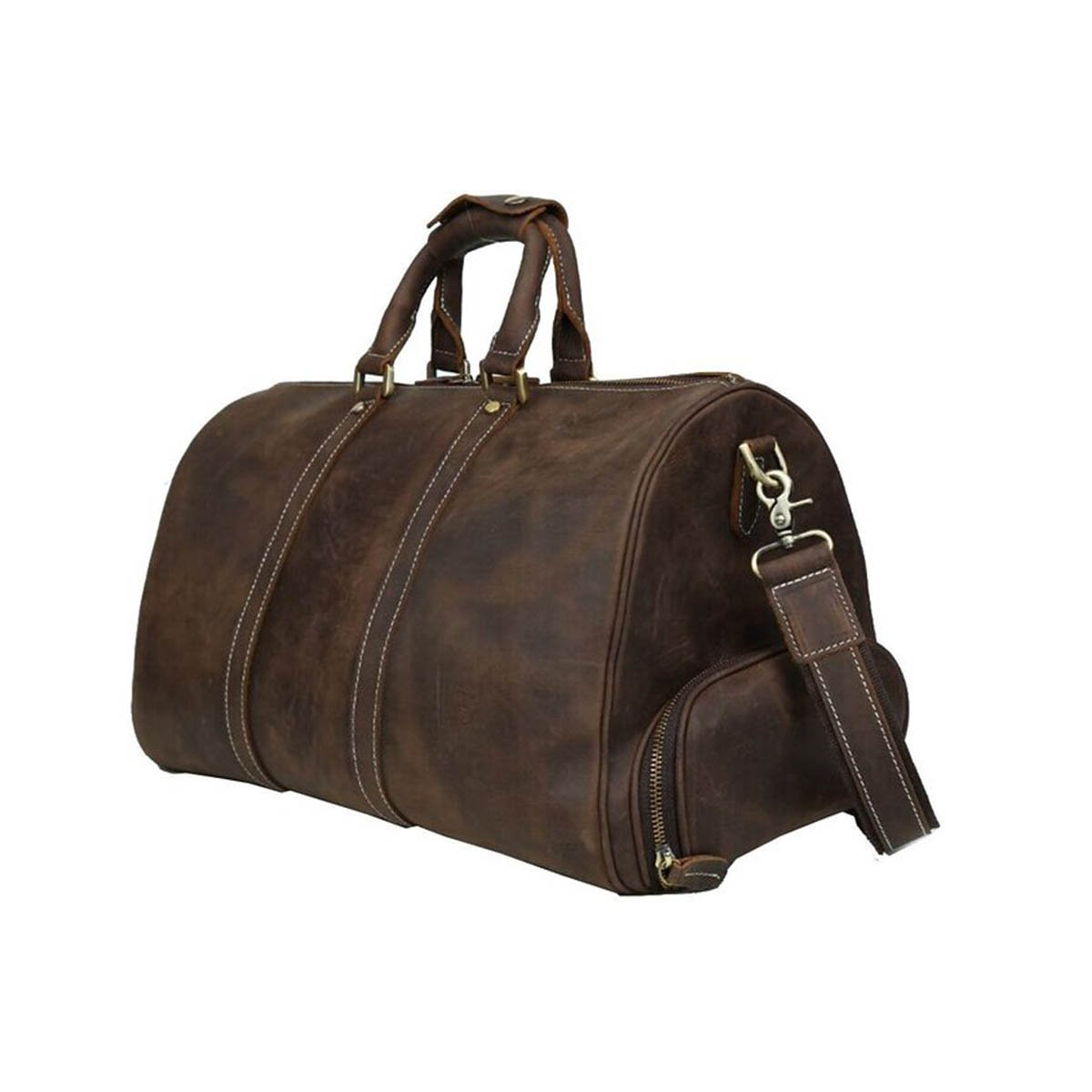 low-cost Mens Leather Travel Duffel Bag with Shoes Compartment Weekend  Carry On Shoulder Bag d614faea35b8c