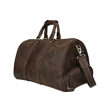 f535ac626a Mens Leather Travel Duffel Bag with Shoes Compartment Weekend Carry On Shoulder  Bag By Huntvp