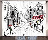 Paris Decor Curtains 2 Panel Set Illustration of Old French Pedestrians Stores Trees and the Silhouette of Eifffel Urban Design Living Room Bedroom Decor Multi