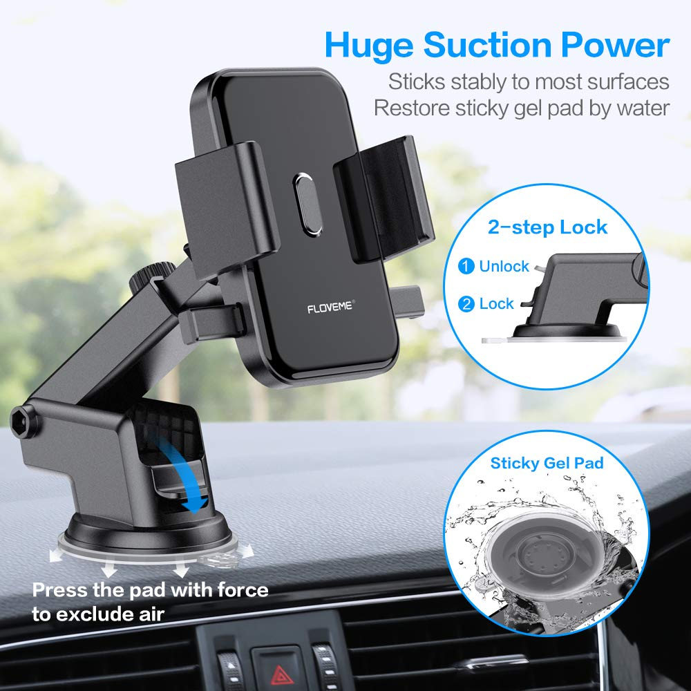 Cell Phone Holder for Car FLOVEME 2 in 1 Kit Long Neck 360 Rotate One Touch Auto-Grip Dashboard//Windshield//Air Vent Car Phone Mount for iPhone Xs Max XR X 8 7 Plus Samsung Galaxy Note 10 9 8 S10 S9 S8