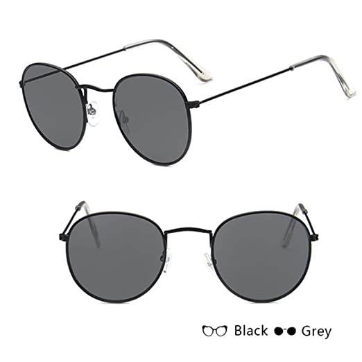 2debc67f563e NEW Sunglasses Women Men Glasses Lady Round Luxury Retro Sun Glasses  Vintage Mirror black grey