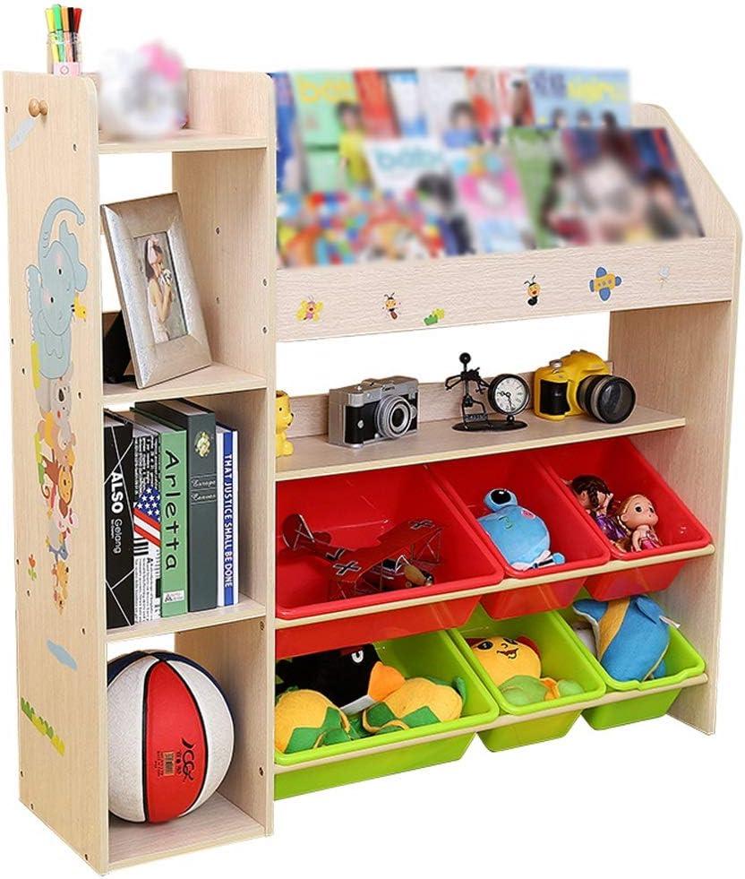 おもちゃラック 3 in 1子供用プレイルーム寝室木製玩具収納キャビネット付き6プラスチックビンボックス-106 * 28.5 * 104 CM (Color : Natural Wood, Size : 106*28.5*104cm)