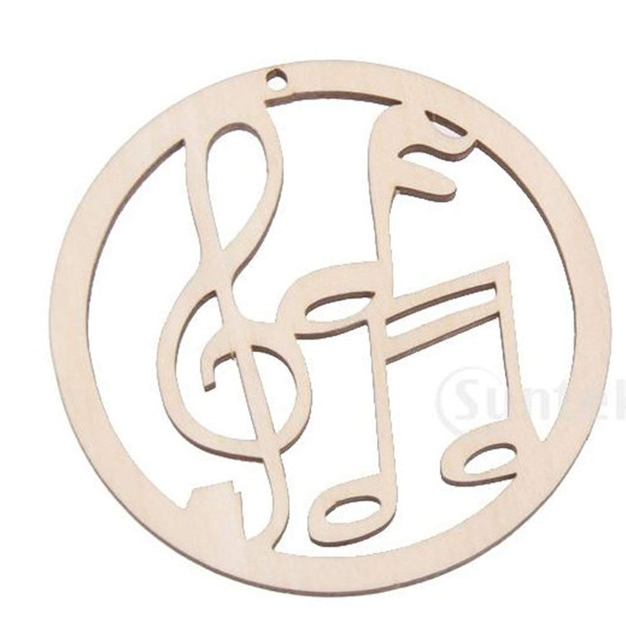 Liobaba 10pcs/Set Music Note Wood Embellishments Christmas Rustic Tree Hanging Ornament Home Party Decor Blank Gift Tags Crafts