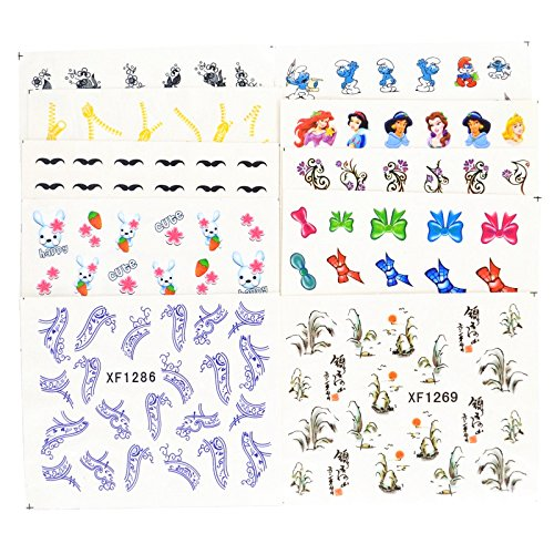 Animals Transfer Pattern - JACA 50 Sheets Water Transfer Nail Art Decals Stickers for girl women and kids with butterfly flower animal insect beauty and different patterns