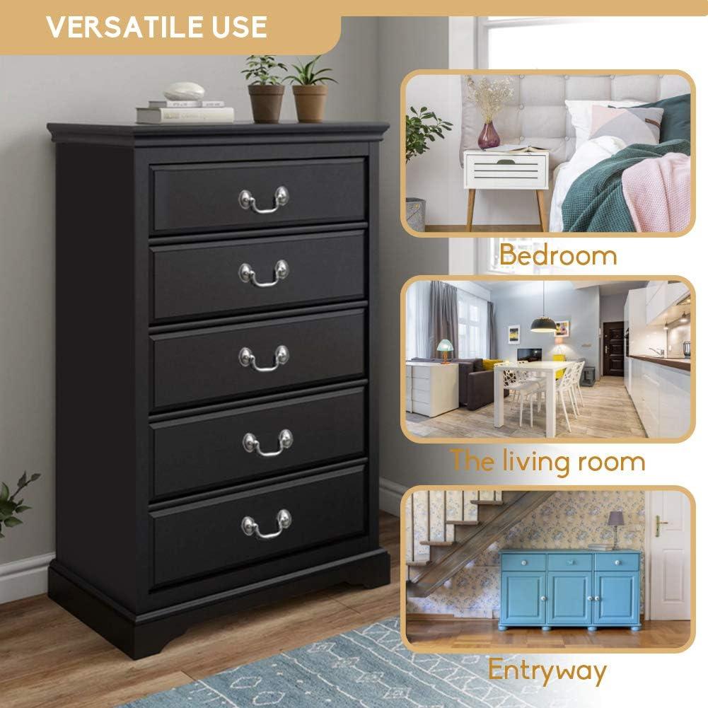 Kid/'s Room Living Room Henf 5 Drawers Dresser Black Wood Drawer Chest Dresser Storage Cabinet Chest of Drawer with Antique Handles for Closet Bedroom Fully Assembled