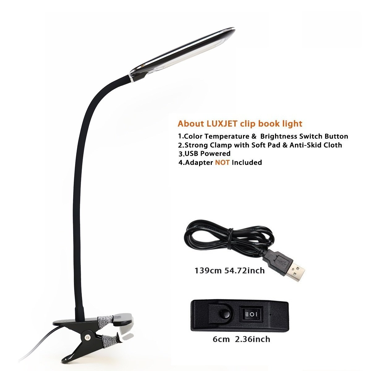 LUXJET LED Book Light Clip Lights, 12LED 5W Desk Lamp ,3 Color Lighting Modes (Warm /daylight/Cool White), 2 Level Dimmable USB Clamp,Flexible Gooseneck with IP3X Eye Protection for Bed Readers, Kids,