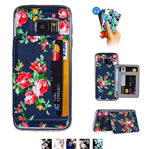Galaxy S7 Card Case,Galaxy S7 Wallet Case,Tripky Flower Floral Flip Folio Wallet Cases PU Leather Magnetic Holster Phone Case for Galaxy S7 with [Kickstand][3 Card Slots]-Red&Blue ()