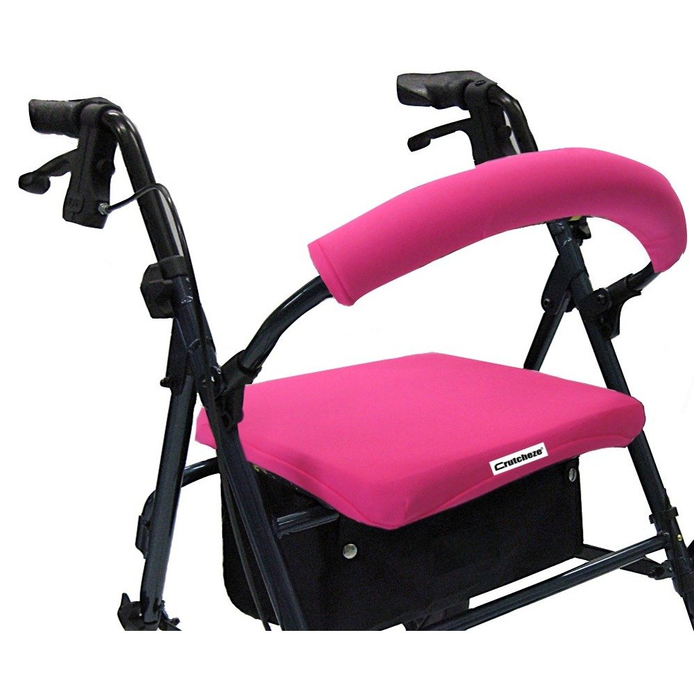 Crutcheze Sport Pink Rollator Walker Seat and Backrest Covers Designer Fashion Accessories Made in USA