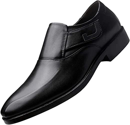 Ansenesna Schuhe Herren Business Schwarz Leder Soft Mit Absatz Elegant Anzug Schuhe Ohne Schnürsenkel Männer Vintage Für Hochzeits