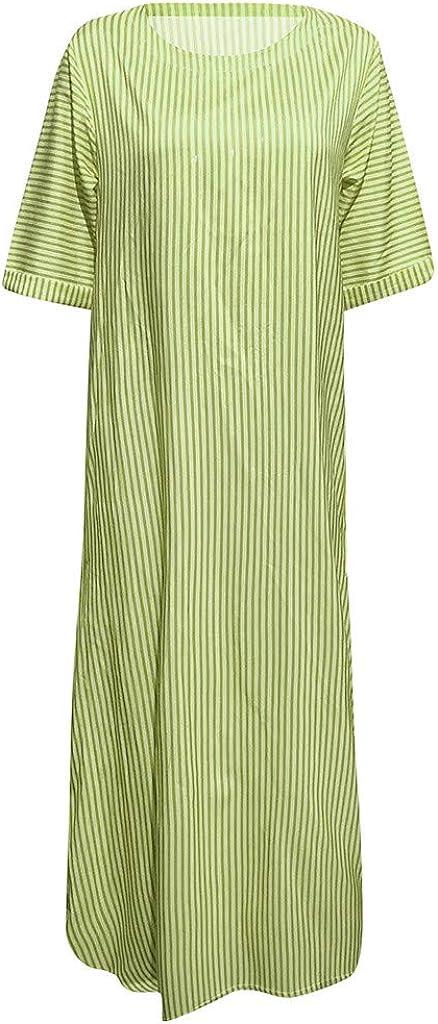 Sherostore ♡ Womens Short Sleeve Loose Plain Striped Maxi Dresses Casual Pencil Long Dress