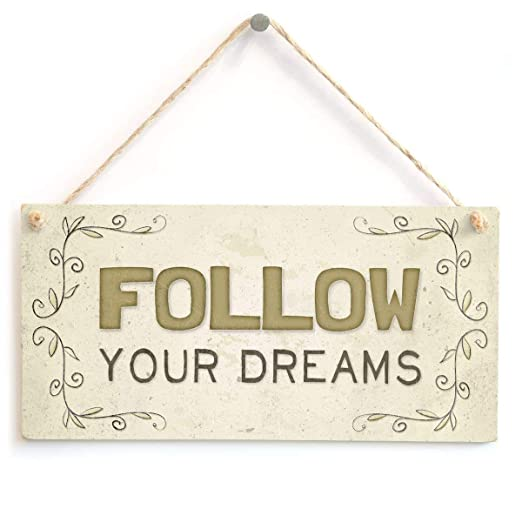 RABEAN Follow Your Dreams Cartel de Madera Placa de Pared de ...