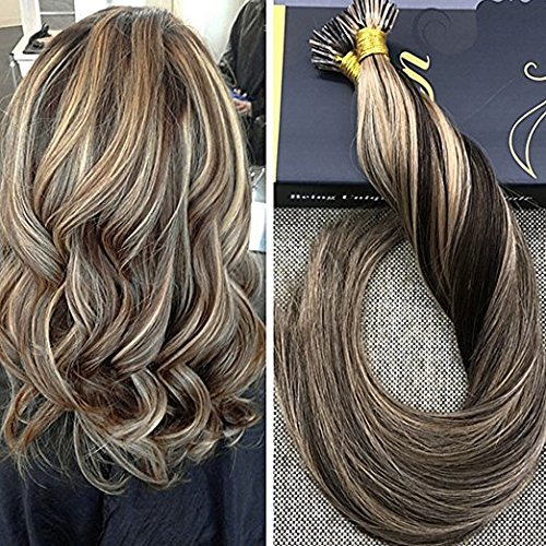 Ugeat 14Inch Pre Bonded Hair Extensions I Tip Highlight Hair Extensions Brown Mixed Blonde Colorful Human Hair Extensions Prebonded Stick Tip Remy Extensions