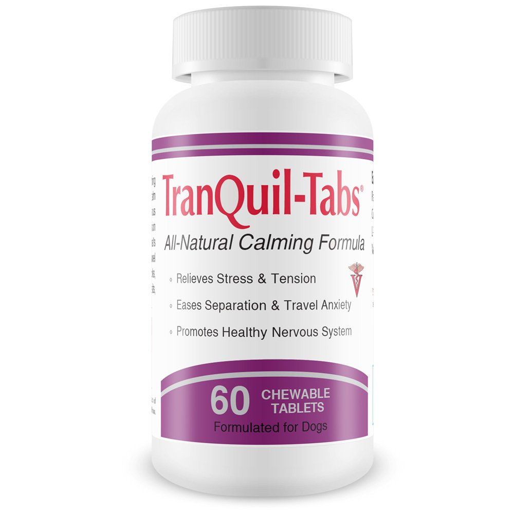 TranQuil-Tabs for Dogs - Relives Stress and Tension - Ease Travel Anxiety - Promotes Healthy Nervous System - 60 Tablets
