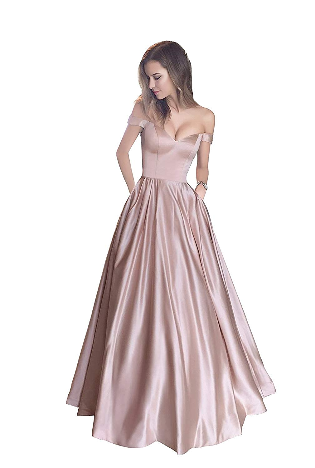 bluesh Without Belt Liaoye Women's Off Shoulder Beaded Satin Evening Prom Dress Long V Neck Formal Party Gowns with Pocket