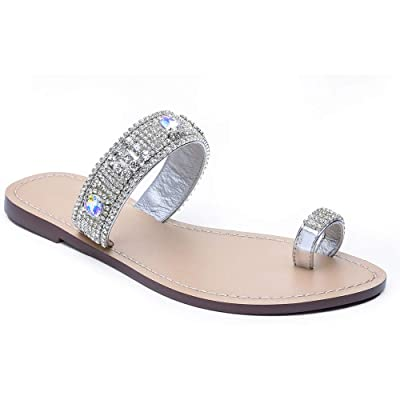 LLADYY Women's Summer Flat Rhinestone Beach Fashion Dress Herringbone Banquet White Bride Wedding Sandals   Sandals