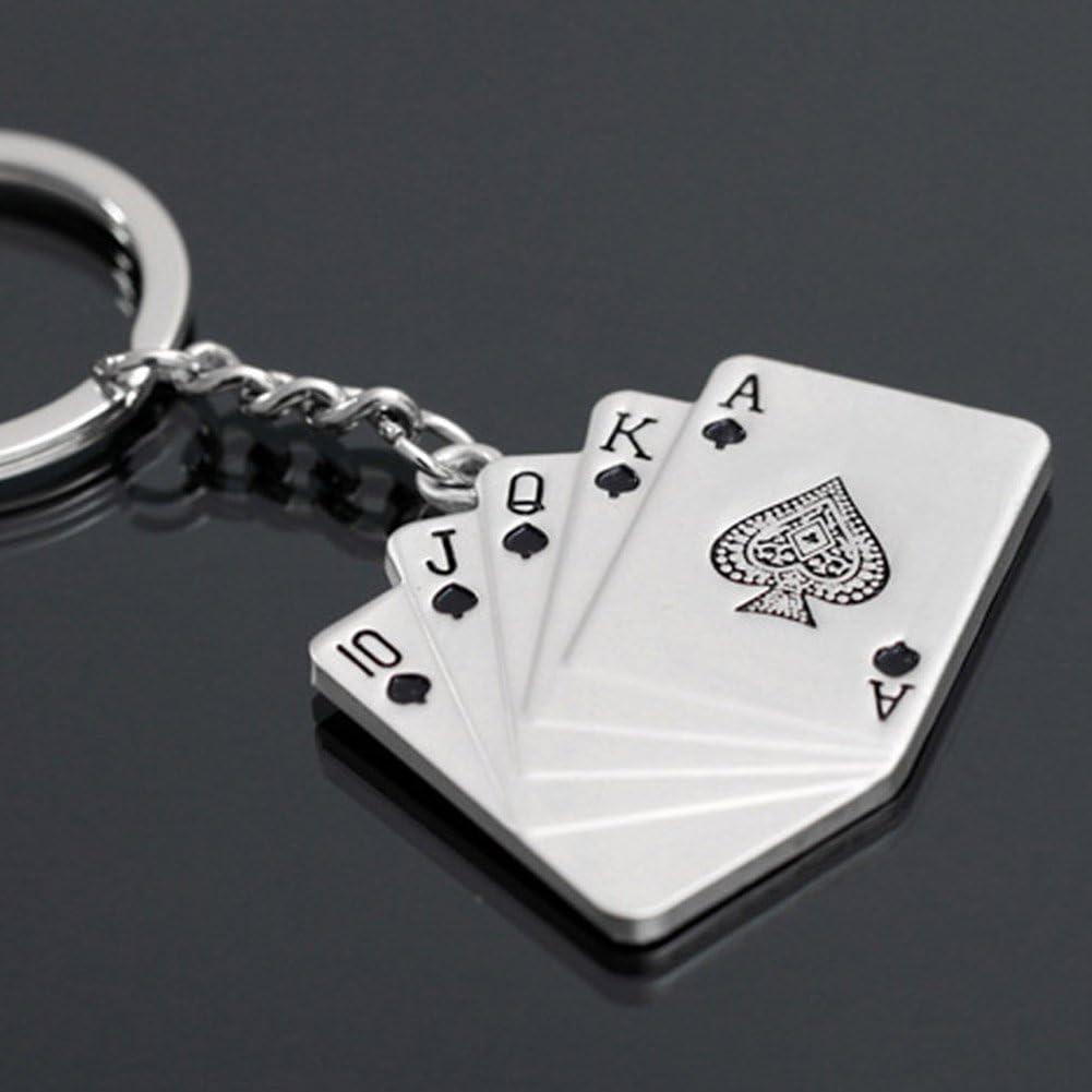 Dylandy Key Ring Kette Schl/üsselanh/änger Halter Poker Royal Flush Schl/üsselanh/änger Metall Schl/üsselanh/änger Anh/änger f/ür Handtasche Auto-Dekoration