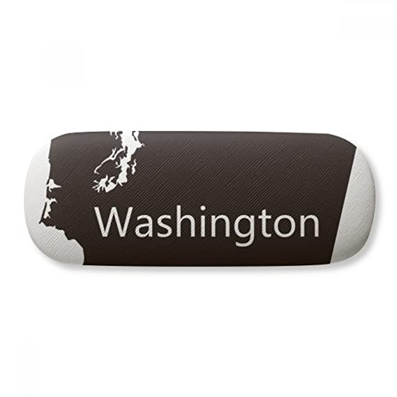 Washington The United States Map Glasses Case Eyeglasses Clam Shell Holder Storage Box