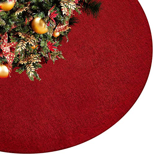 Eilaysyum Christmas Tree Skirt - 48 inches Large Rustic Xmas Burlap Plain Tree Skirts for Holiday Party Christmas Decorations Indoor Outdoor (Red) (Christmas Tree Skirt Red Burlap)