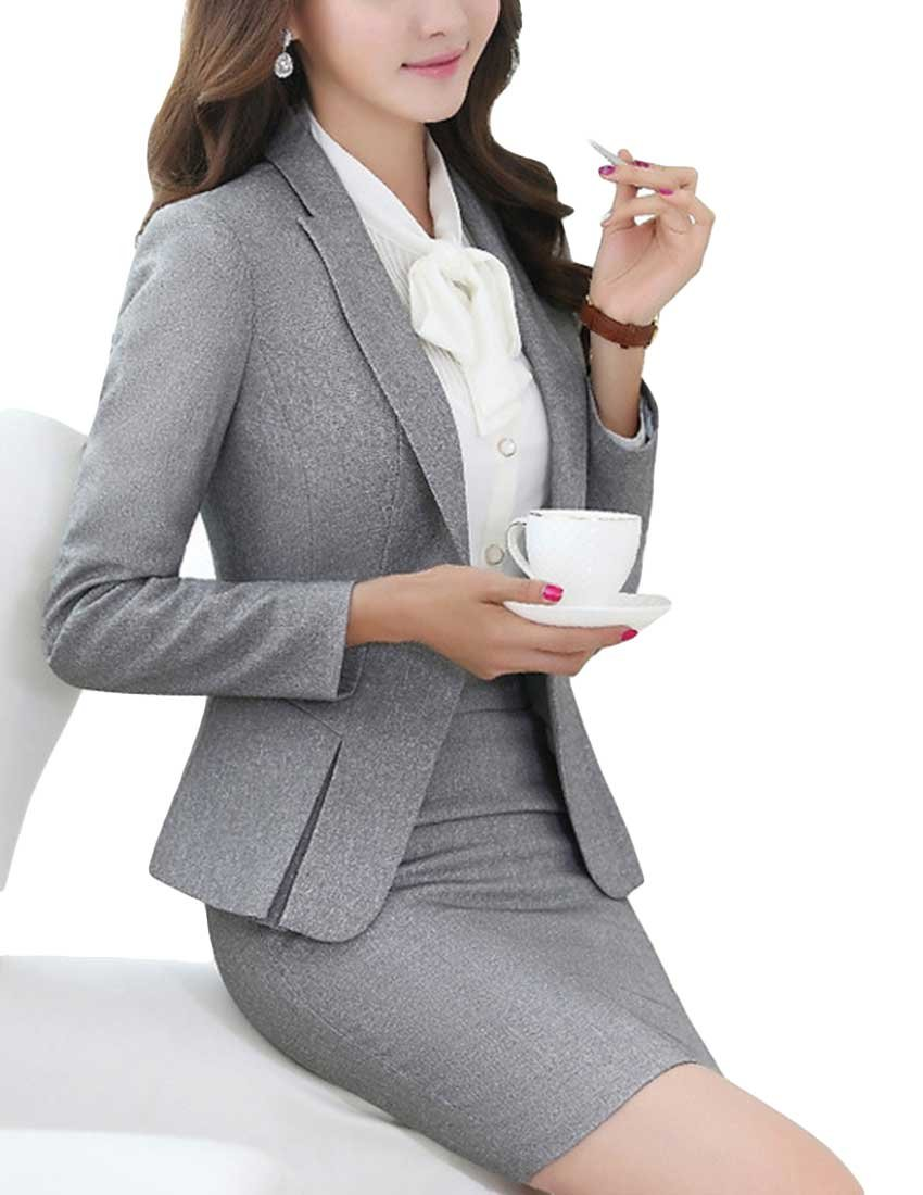 MFrannie Women's Business Office Lady OL Jacket And Skirt Slim Fitness Suit Set Gray-M