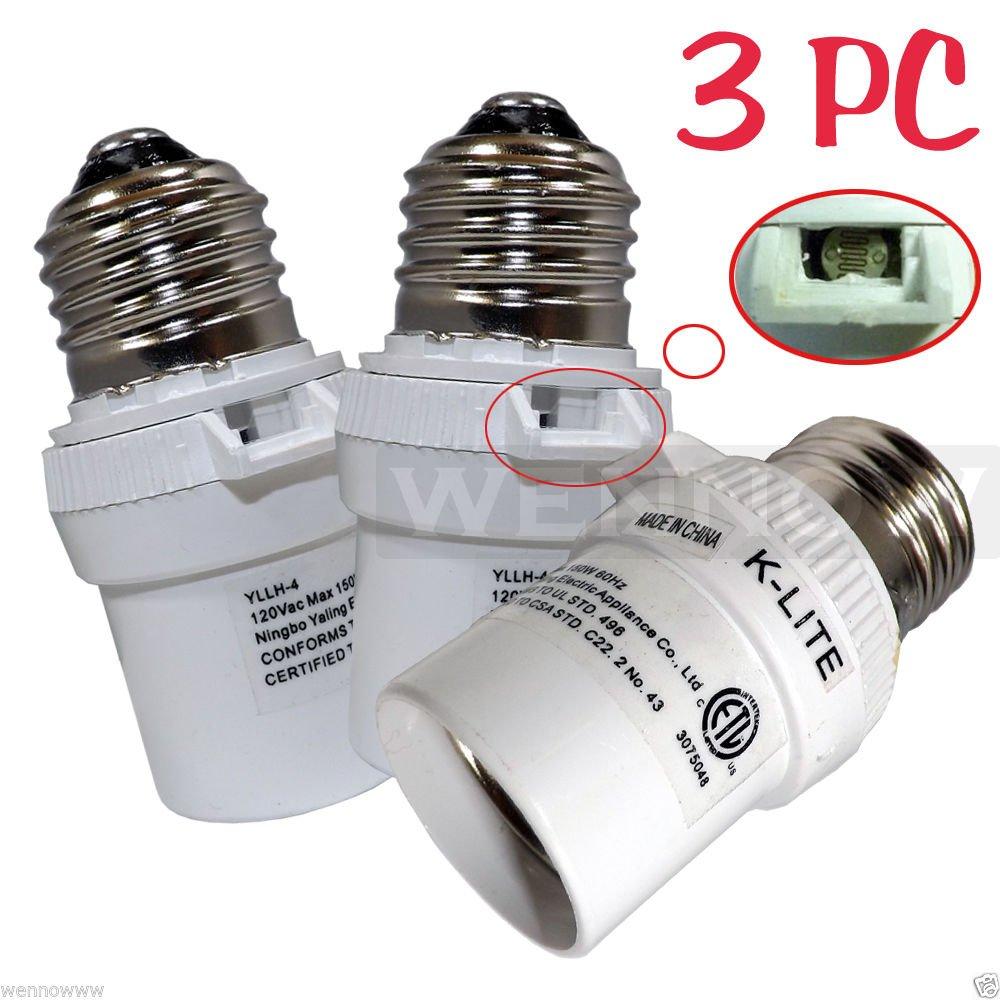 Wennow 3 Pcs White Dusk To Dawn Photocell Light Control Auto Sensor Light  Socket     Amazon comWennow 3 Pcs White Dusk To Dawn Photocell Light Control Auto  . Outdoor Dusk To Dawn Light Sensor Control For Cfl Bulbs. Home Design Ideas