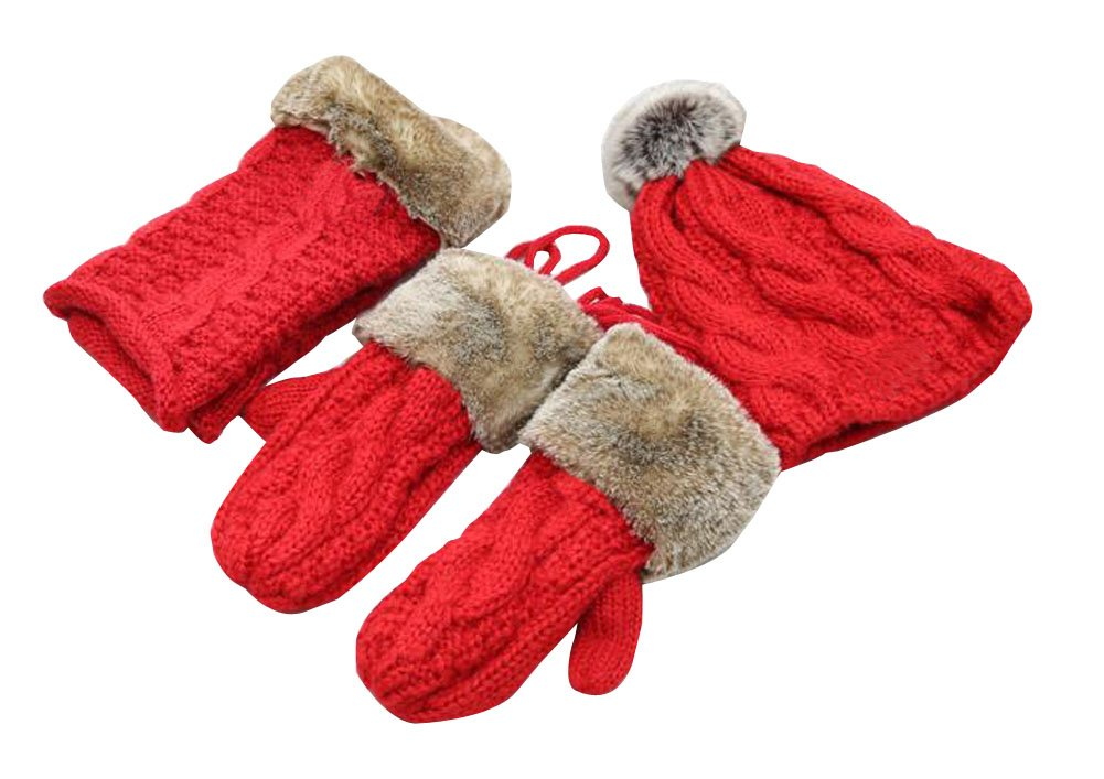 [Red] Woman Winter Three Sets of Gloves and Scarf and Hat Alien Storehouse