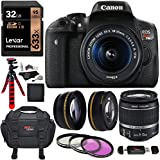 Canon EOS Rebel T6i Digital SLR with EF-S 18-55mm IS STM Lens, Lexar Professional 633x 32GB, Memory Card Reader, Filter Kit, 2.2x Telephoto Lens, 0.43 Wide Angle Lens, Camera Bag & Accessory Bundle