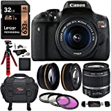 Canon EOS Rebel T6i Digital SLR with EF-S 18-55mm IS STM Lens, Lexar Professional 633x 32GB, Memory Card Reader, Filter Kit, 2.2x Telephoto Lens, 0.43 Wide Angle Lens, Camera Bag & Accessory Bundle For Sale