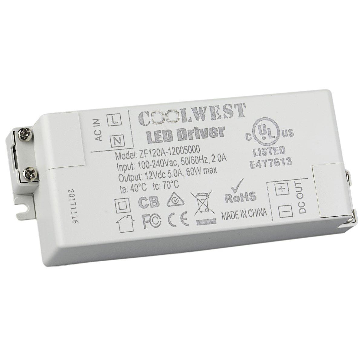 COOLWEST 60W Trasformatore LED Driver Alimentatori 12V DC 5A Tensione costante, usato per G4, GU10, MR11, MR16, Lampadine a LED, Striscia LED