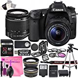 Canon EOS 80D DSLR Camera Deluxe Video Creator Kit with Canon EF-S 18-55mm f/3.5-5.6 IS STM Lens + 32GB SD Memory Card + Camera Works PRO Accessory Bundle