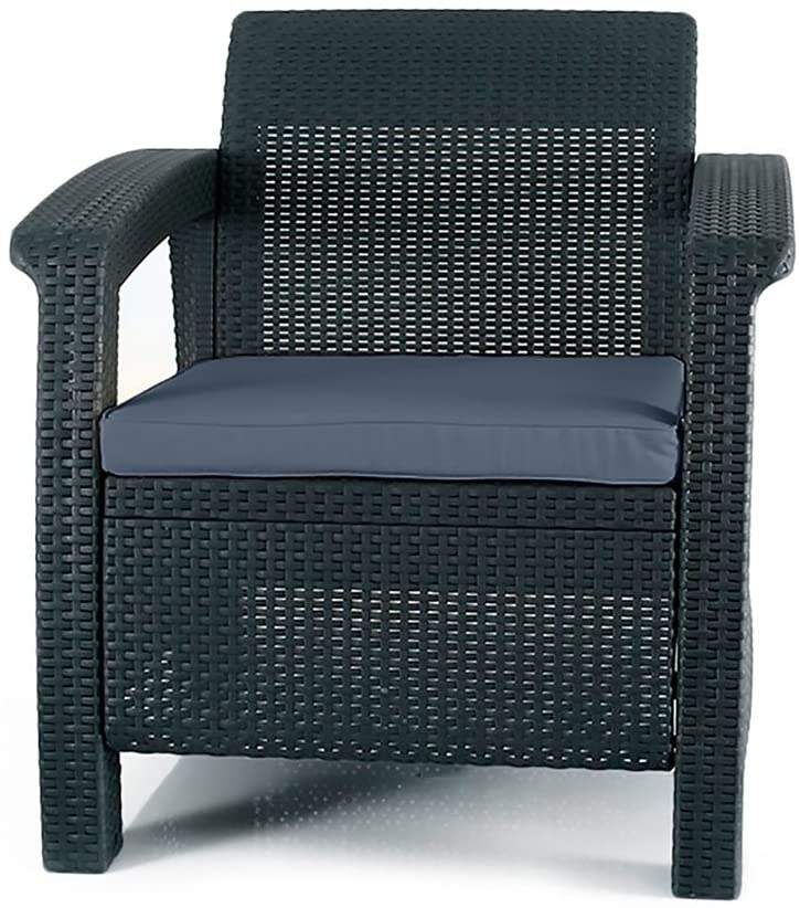 Keter Chair for Outdoor Seating with Washable Cushion-Perfect for Balcony, Deck, and Poolside Furniture Sets, 29.50 x 27.60 x 31.10 IN, Grey : Garden & Outdoor