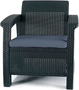 Keter 205068 Cushions, Charcoal Corfu Armchair All Weather Outdoor Patio Garden Furniture, Grey
