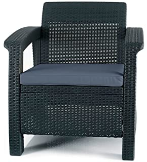 keter corfu armchair all weather outdoor patio garden furniture with cushions charcoal - Garden Furniture 3 Piece