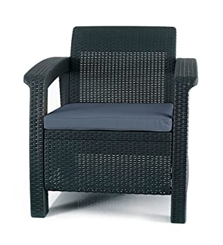 Keter Corfu Armchair All Weather Outdoor Patio Garden Furniture With  Cushions, Charcoal