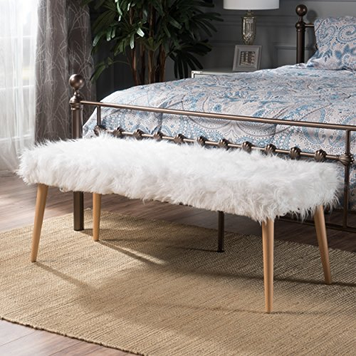 Christopher Knight Home 300716 Living Majestic Mid-Century Long Hair Faux Fur Ottoman (White),